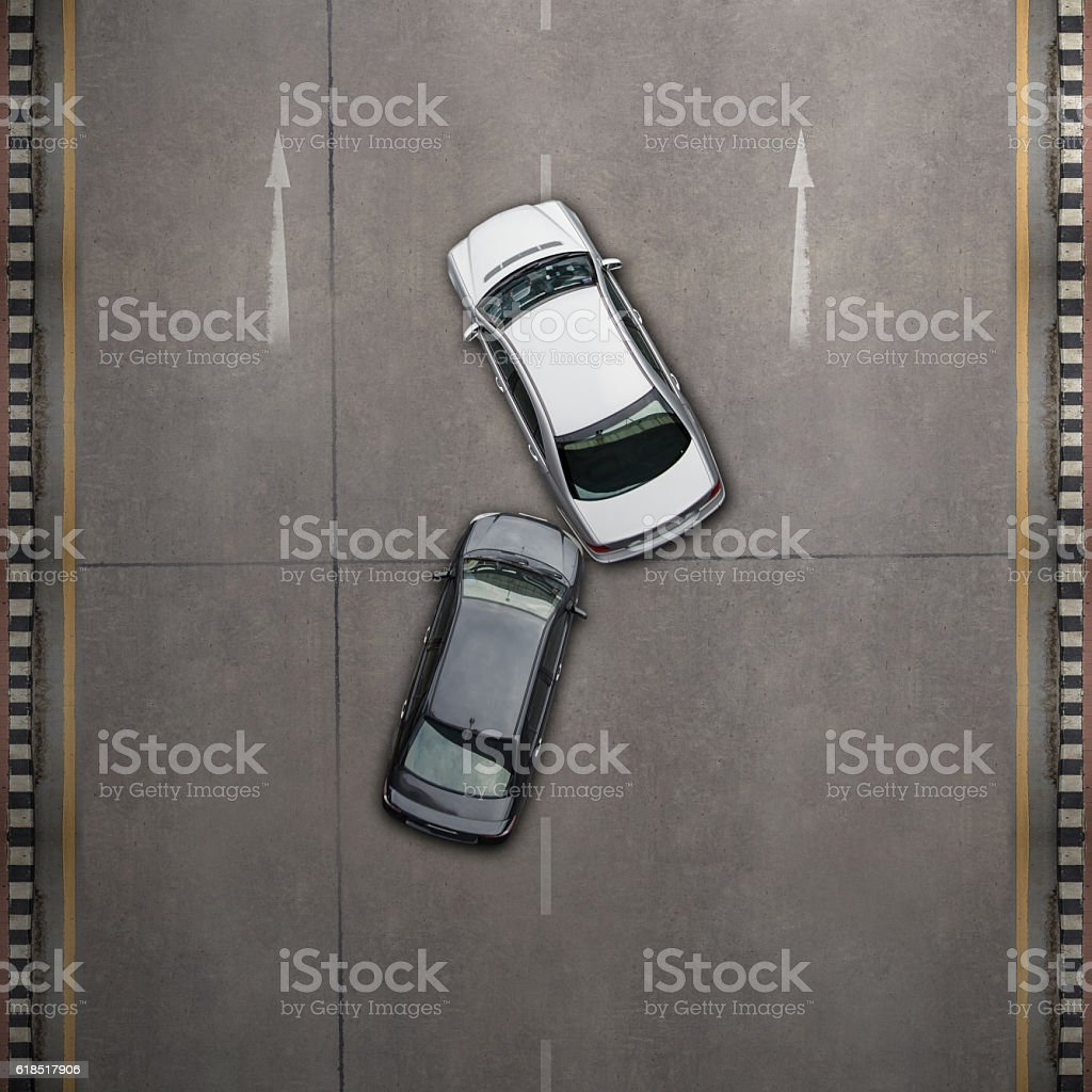 Two cars in an accident stock photo