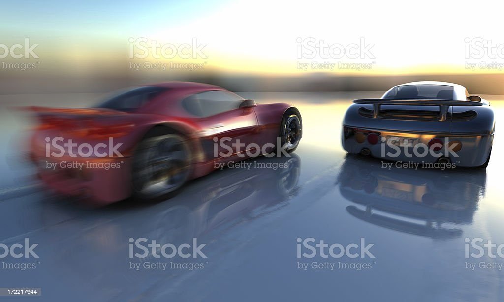 Two cars shown from behind in sunset royalty-free stock photo