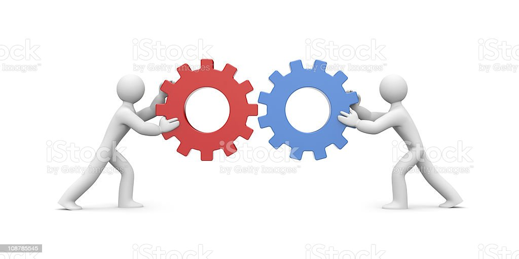 Two cartoon figures pushing together blue and red gears royalty-free stock photo