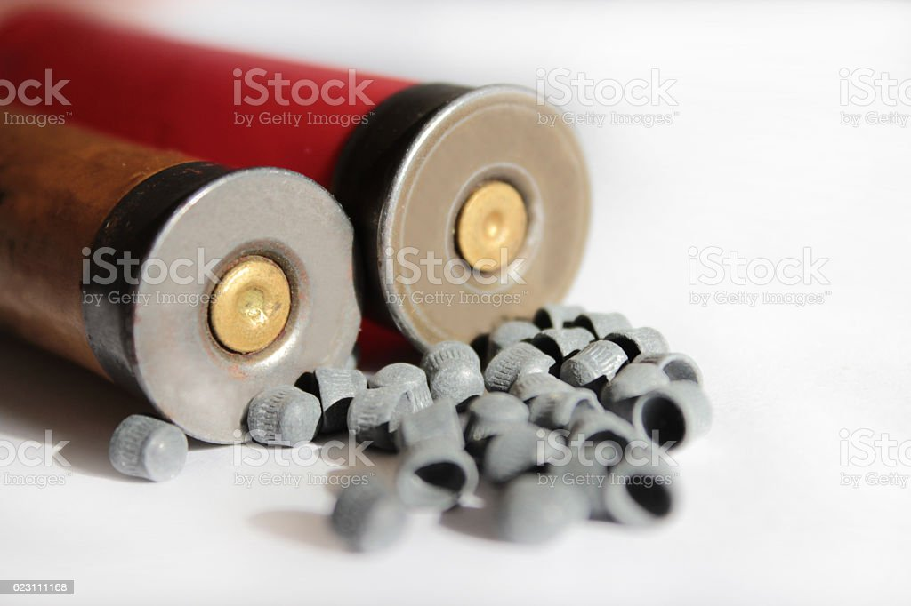 two cartridges and fractions stock photo