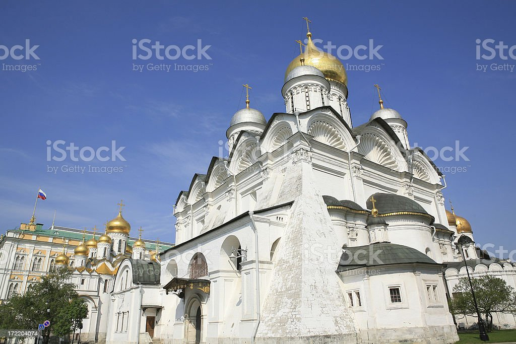 Two Cathederals in Moscows Kremlin stock photo