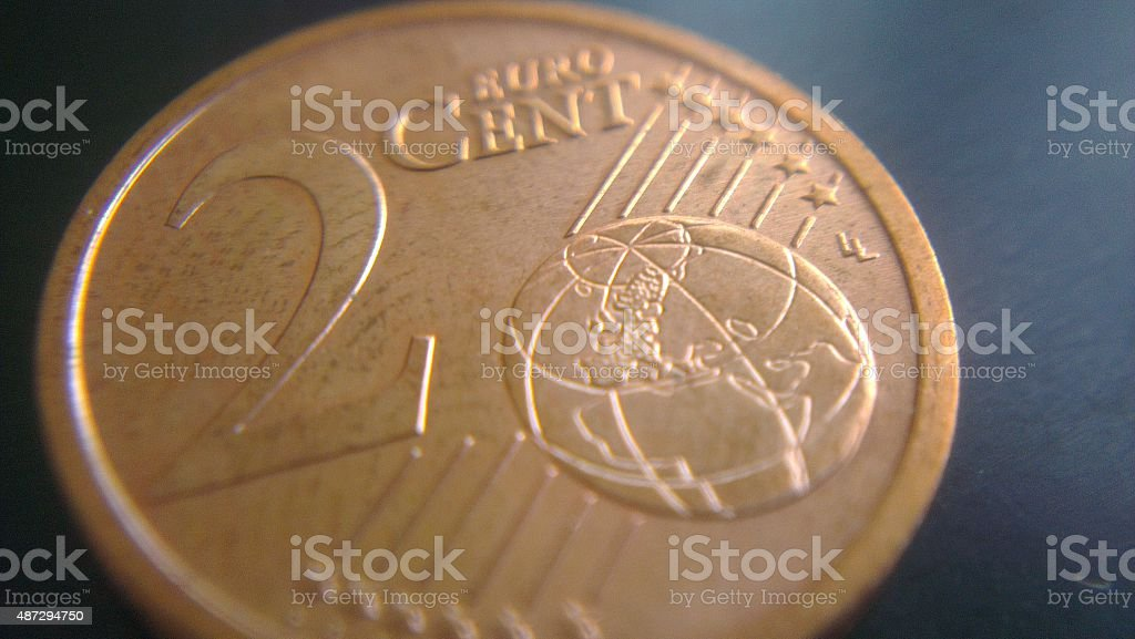 Two cent coin stock photo