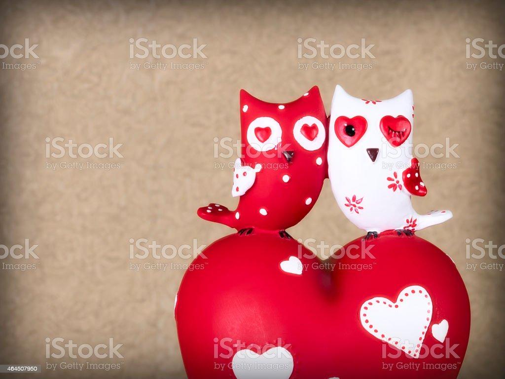 Two ceramic owls stock photo
