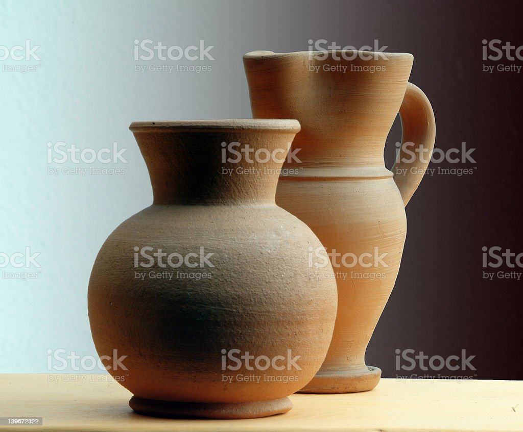 two ceramic pots royalty-free stock photo