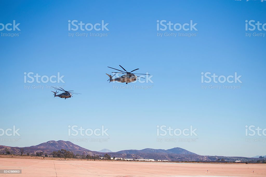 Two CH-53E Super Stallion (Sikorsky) Helicopter going to war stock photo