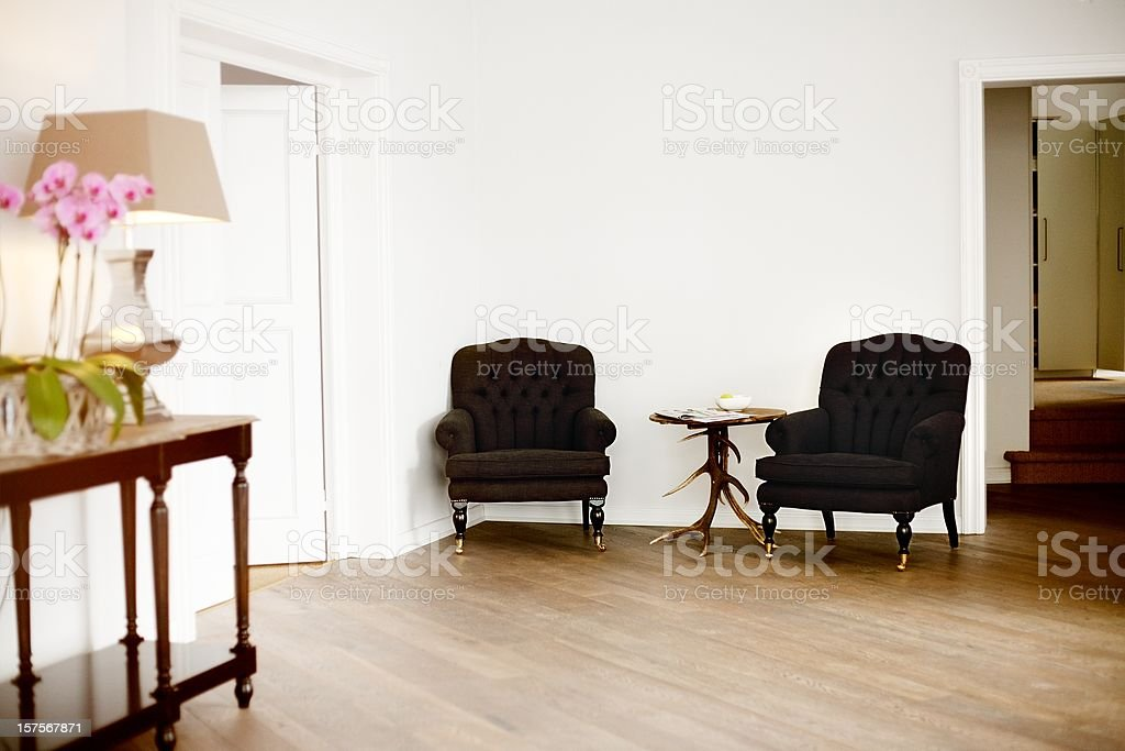two chairs in a office stock photo
