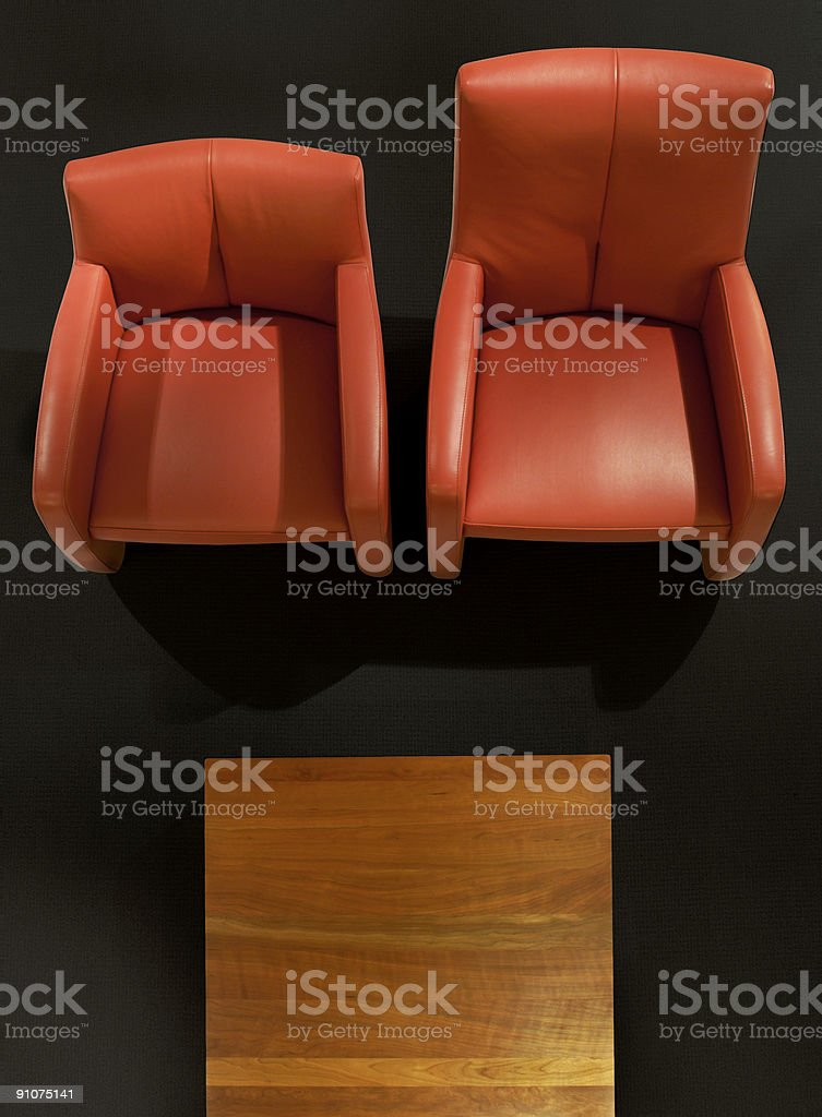 two chairs in waitingroom + clippingpath stock photo