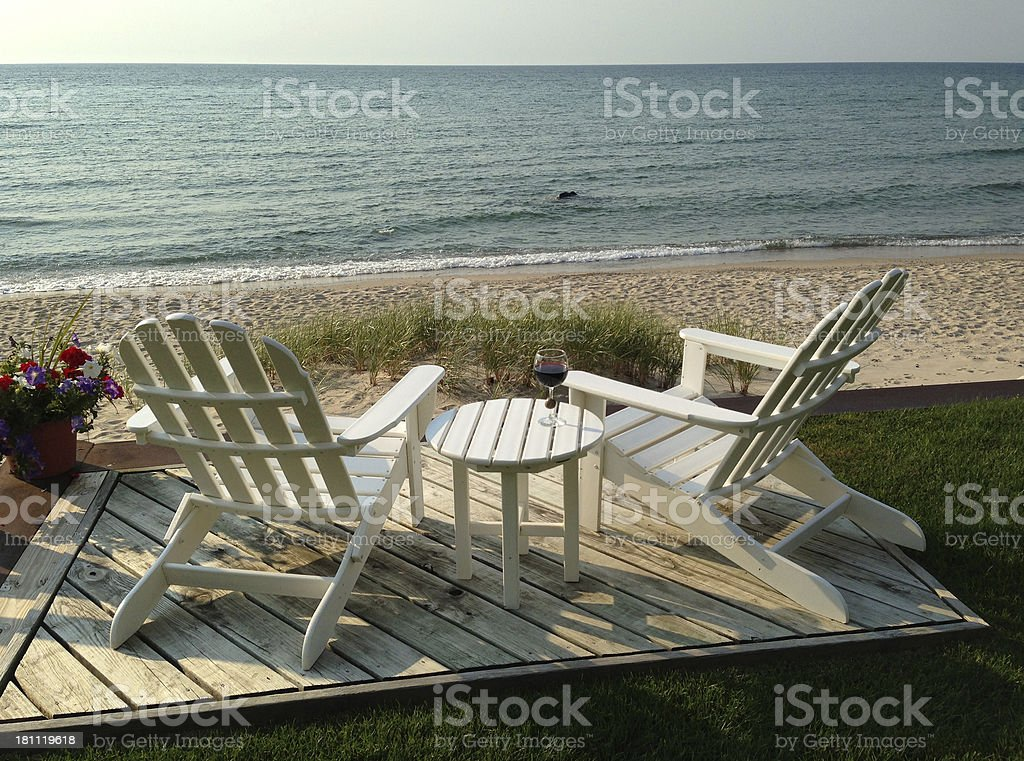 Two Chairs on Lake Michigan royalty-free stock photo