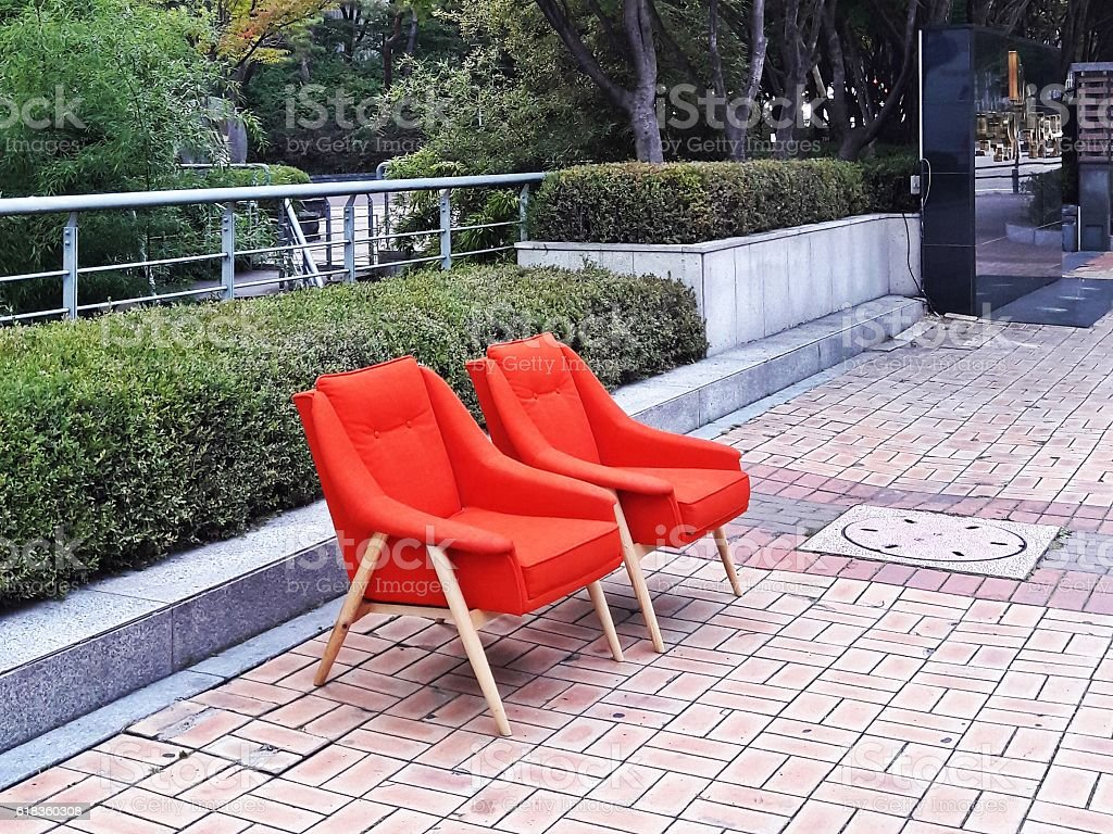 Two chairs on the street stock photo
