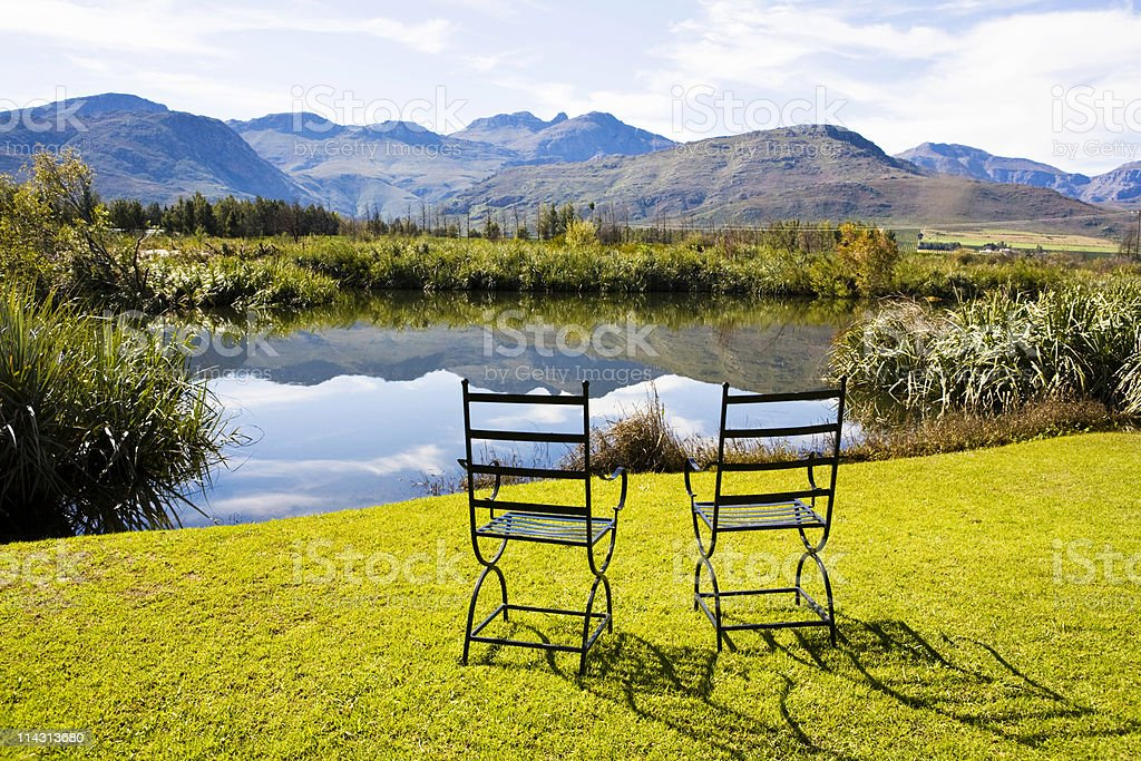 Two chairs, rural idyll stock photo