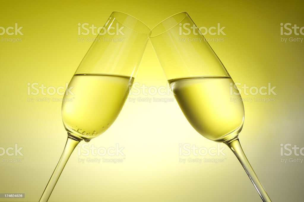 two champagne flutes royalty-free stock photo