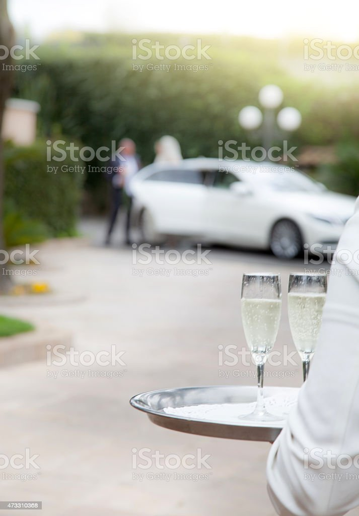 Two champagne glass for the welcome stock photo