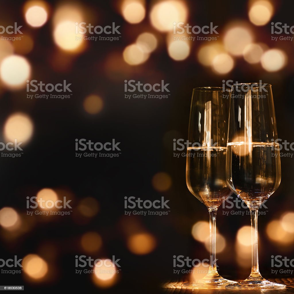 Two Champagne glasses for festive occasions stock photo