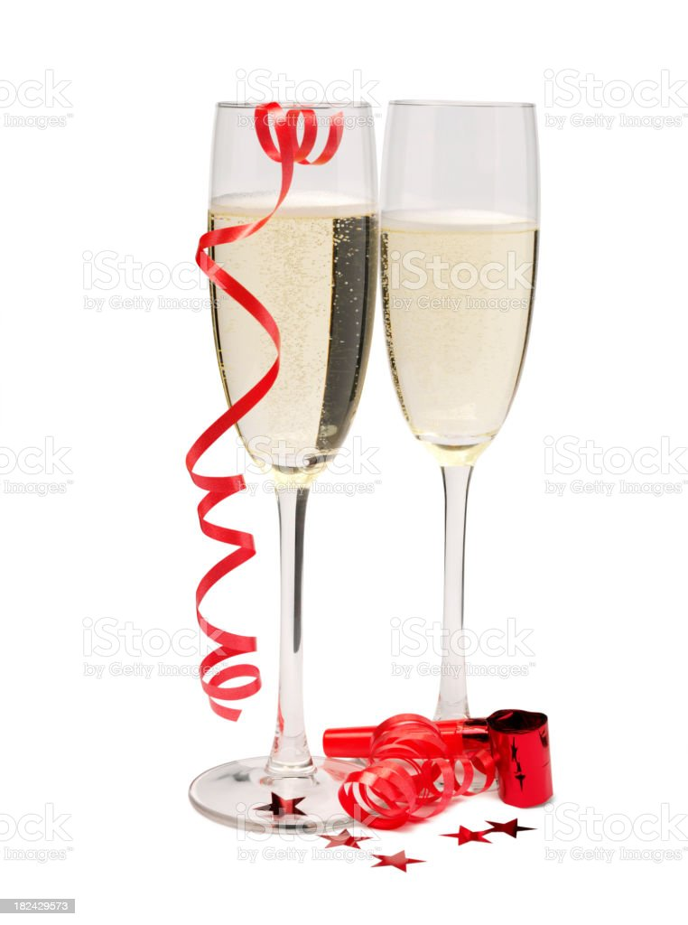 Two Champagne Glasses with Party Streamers royalty-free stock photo