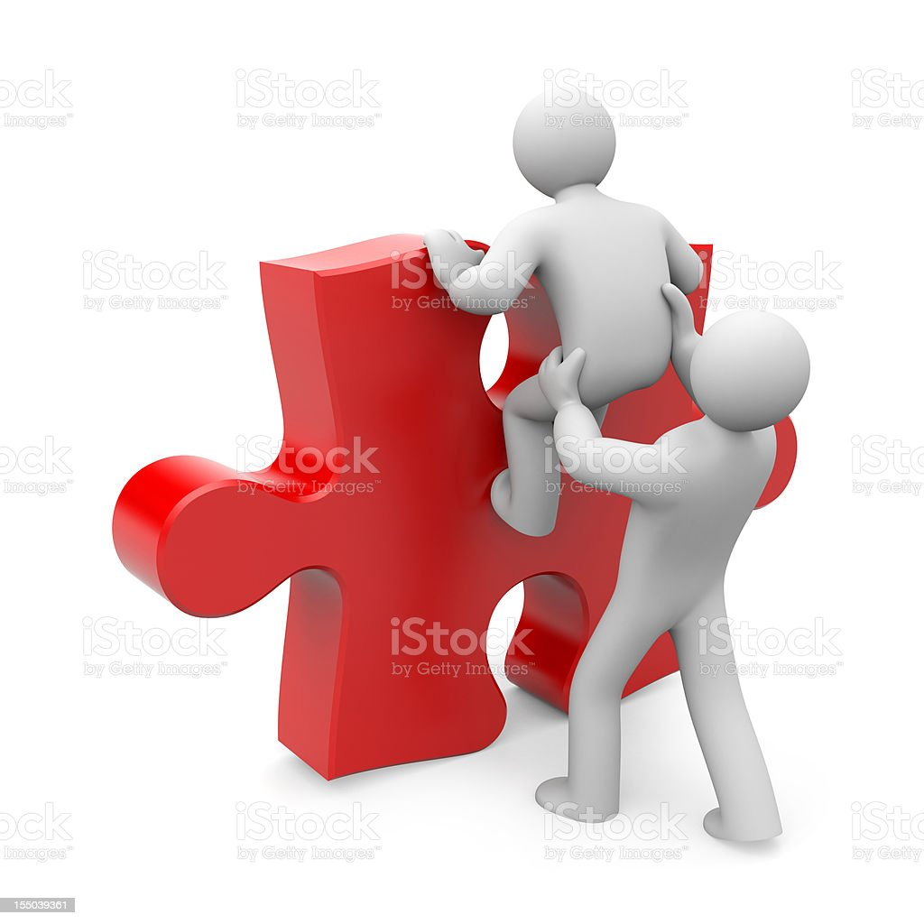 Two characters climbing a puzzle piece royalty-free stock photo