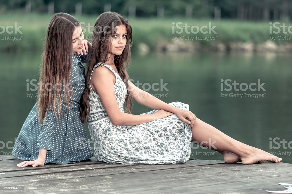 Two Charming Girls stock photo