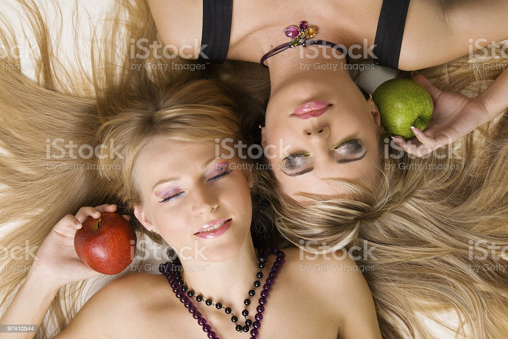 Two cheerful beautiful girls royalty-free stock photo