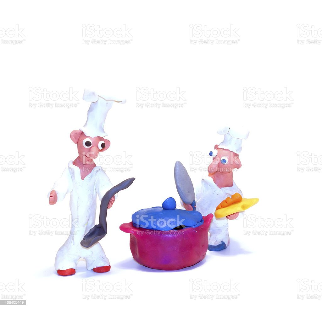 two cheerful Food Boy royalty-free stock photo