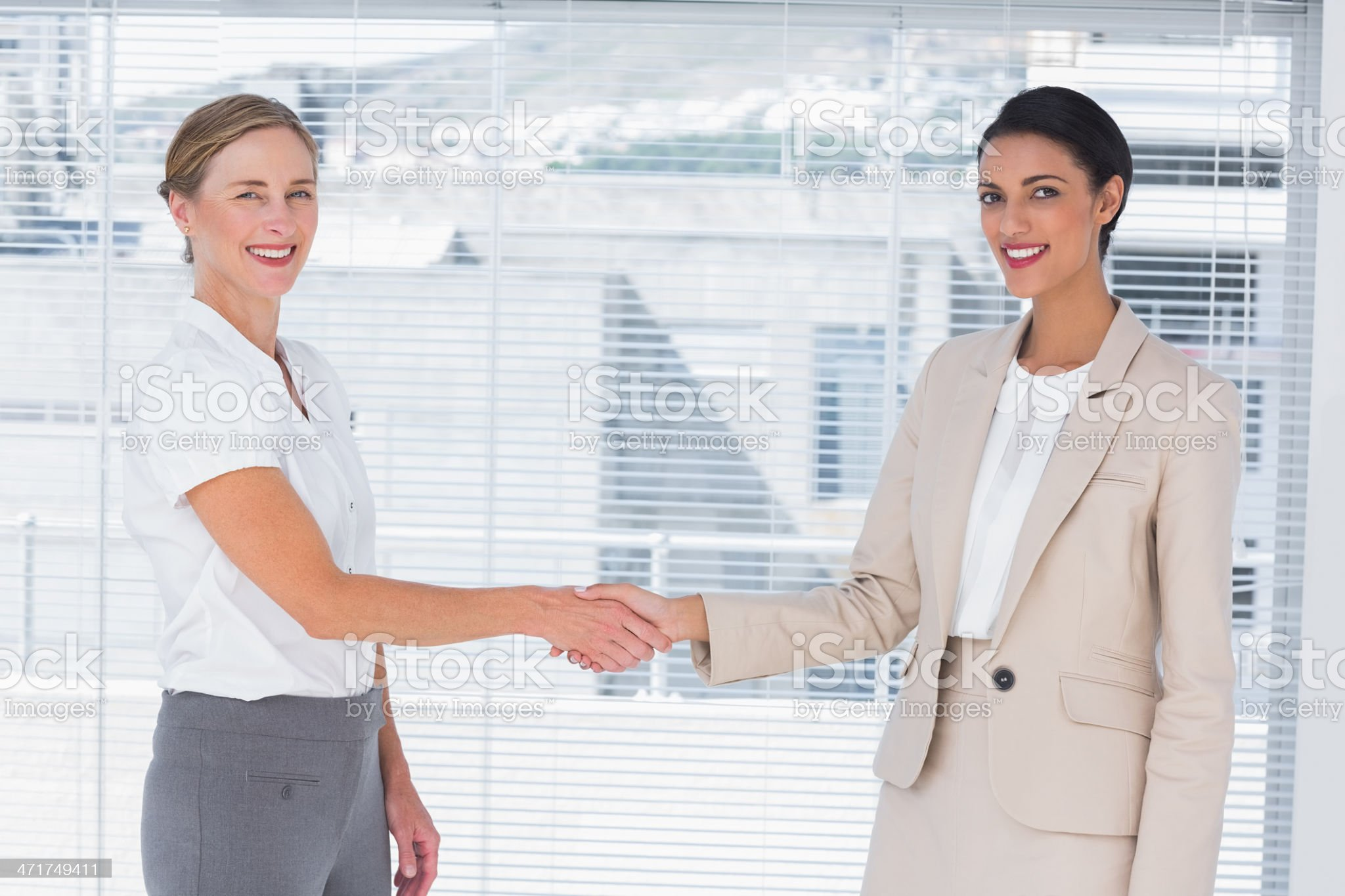 Two cheerful partners shaking hands royalty-free stock photo