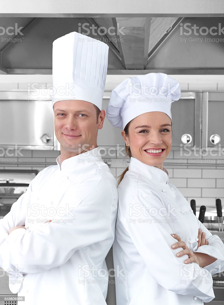 Two Chefs with confidence stock photo