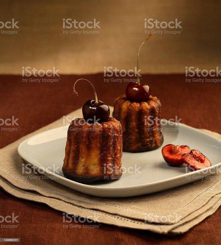 Two cherry cakes royalty-free stock photo