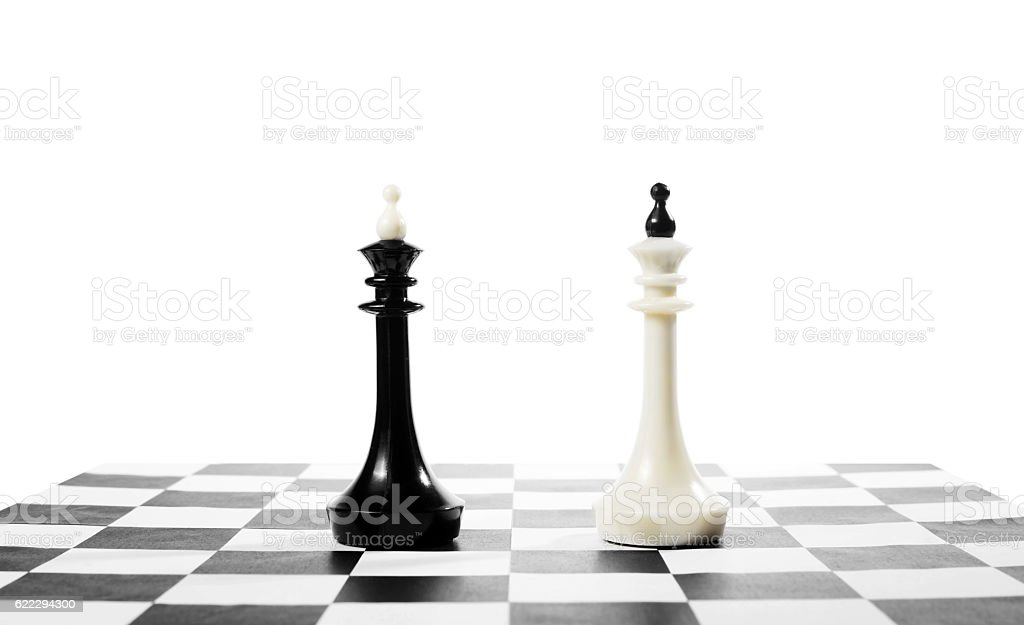 Two chess kings one in front of other stock photo