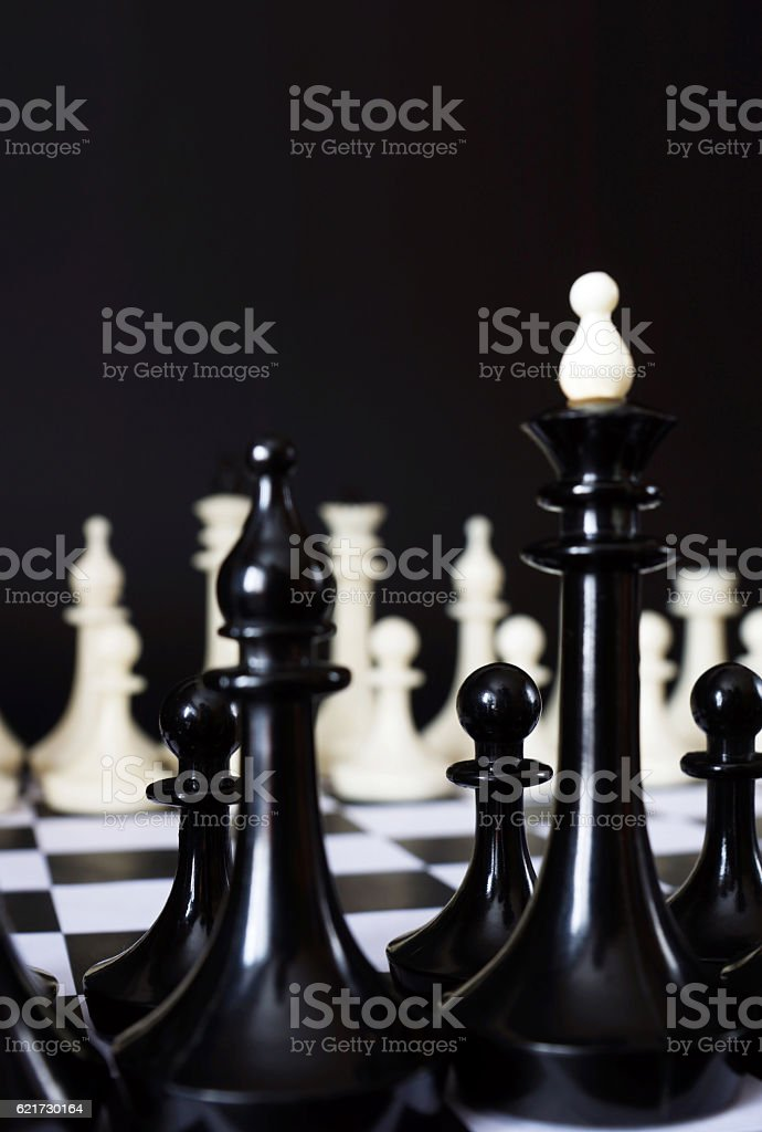 Two chess teams one in front of other stock photo