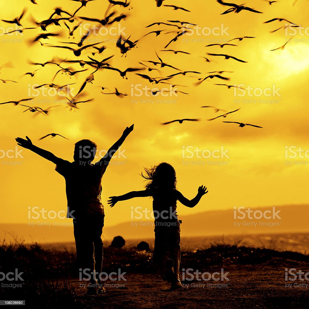 Two Children Chasing Seagulls stock photo