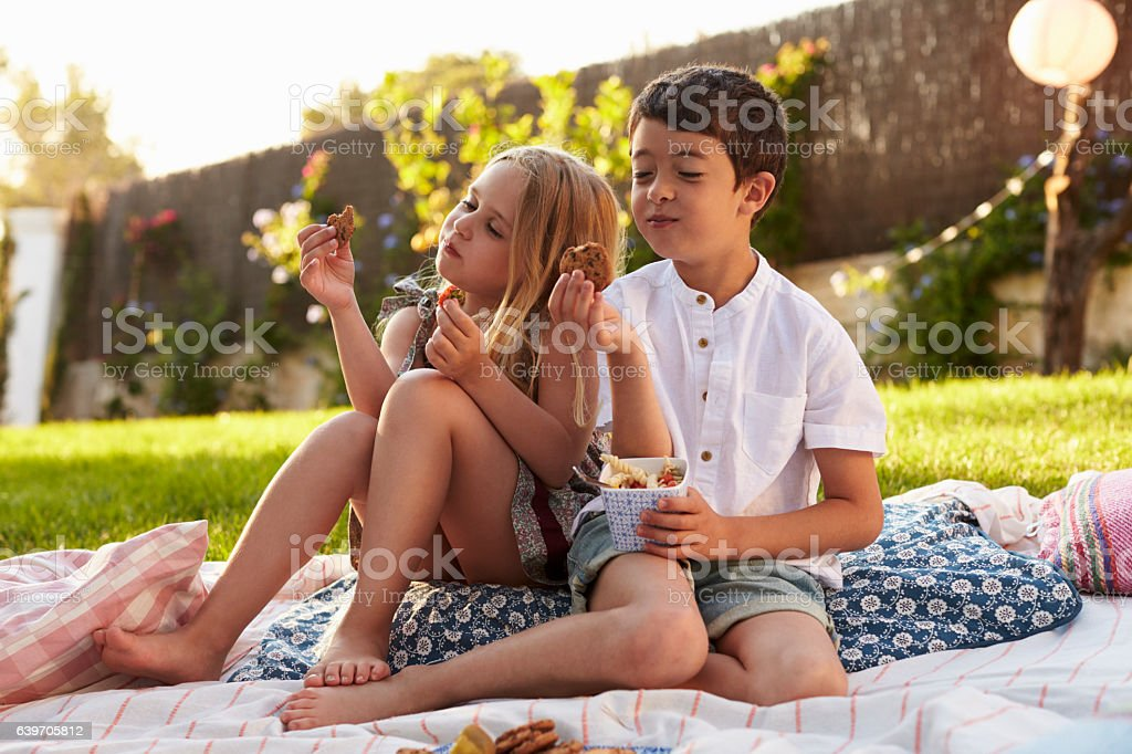 Two Children Enjoying Picnic On Blanket In Garden stock photo