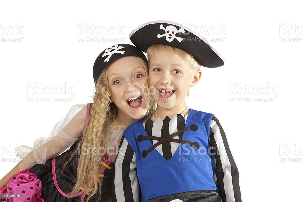 Two Children in Pirates Costumes. stock photo