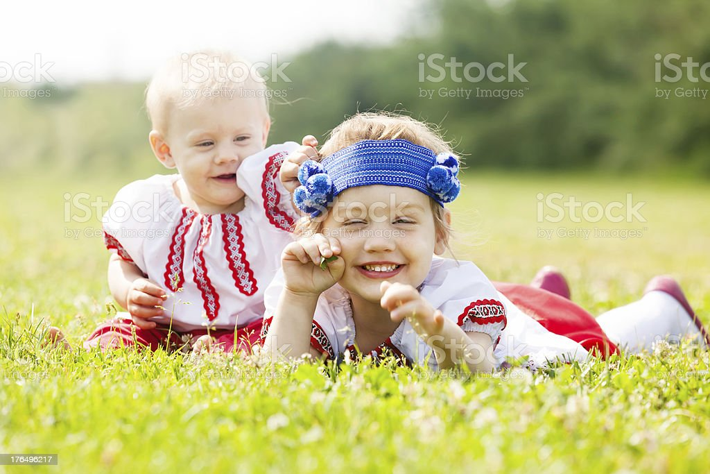Two children in Russian folk clothes royalty-free stock photo
