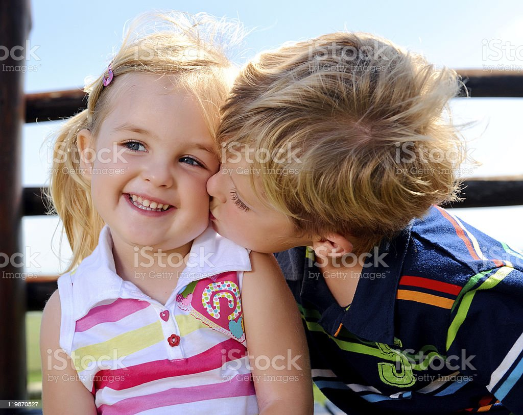 Two children in the playground royalty-free stock photo