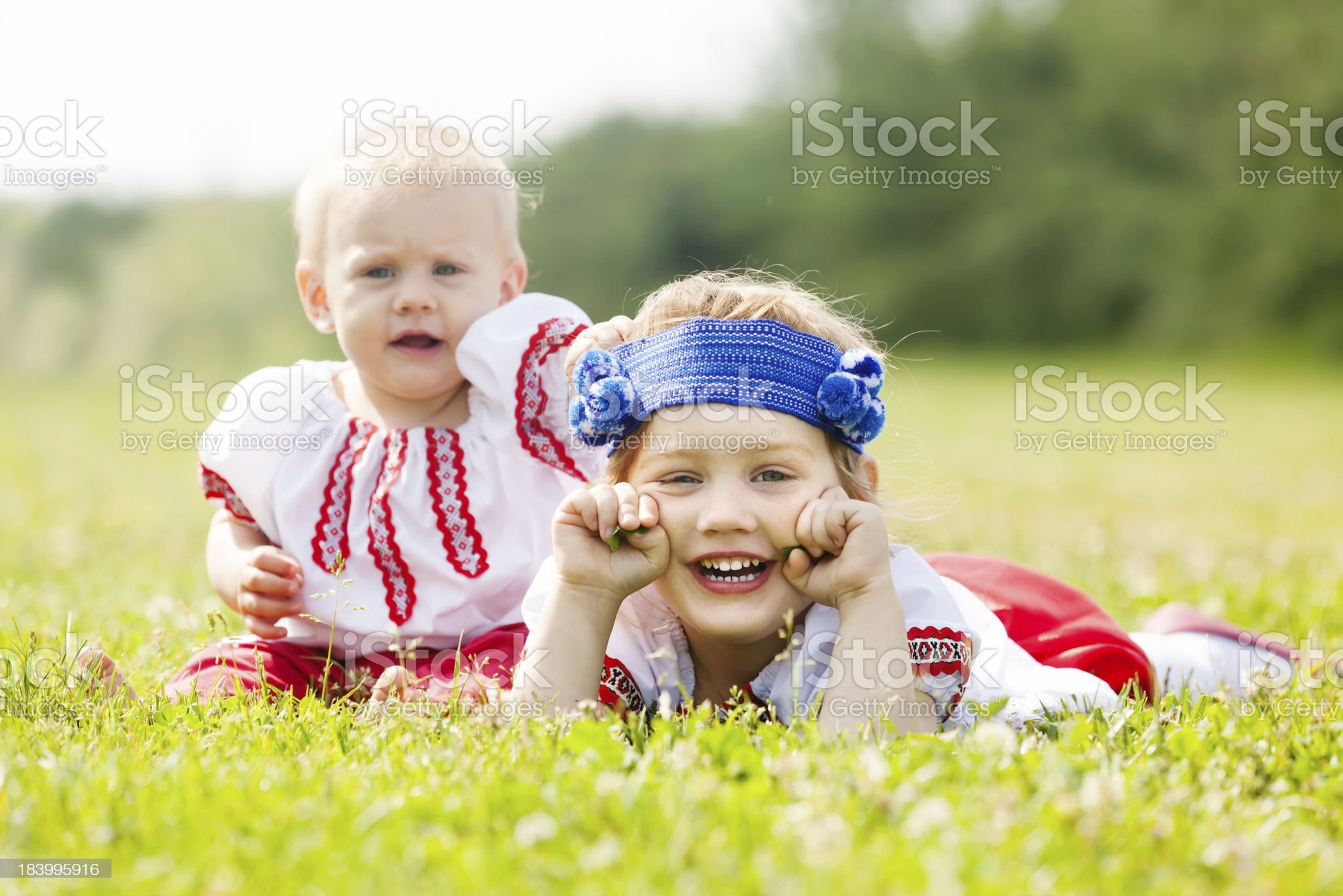 Two children in traditional clothes royalty-free stock photo