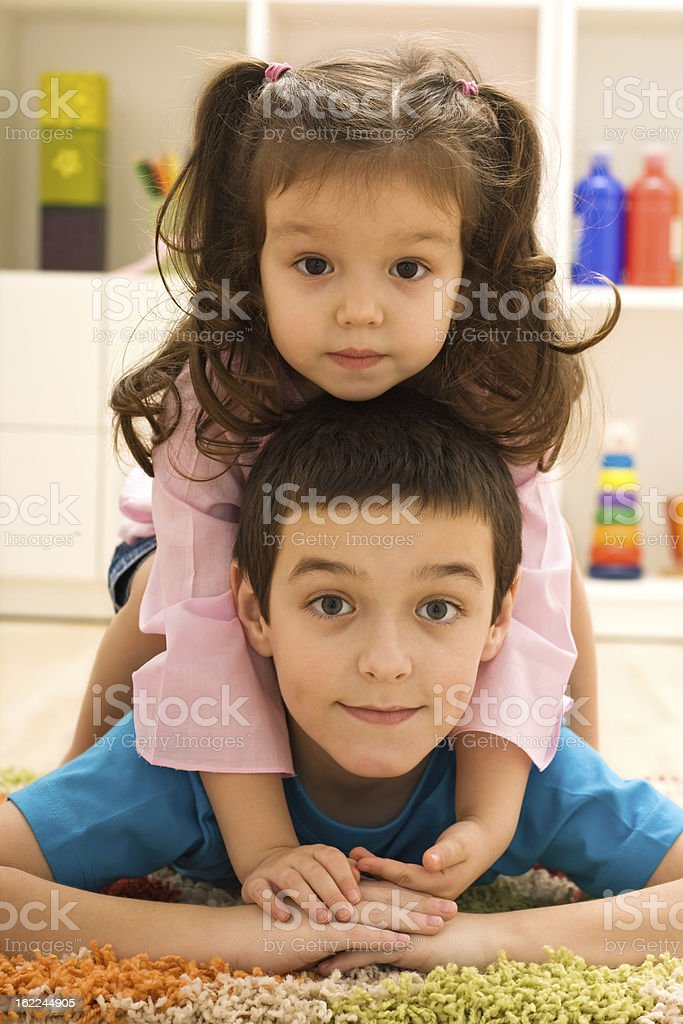 Two children playing royalty-free stock photo