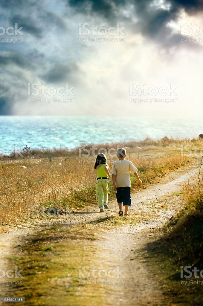 two children playing stock photo