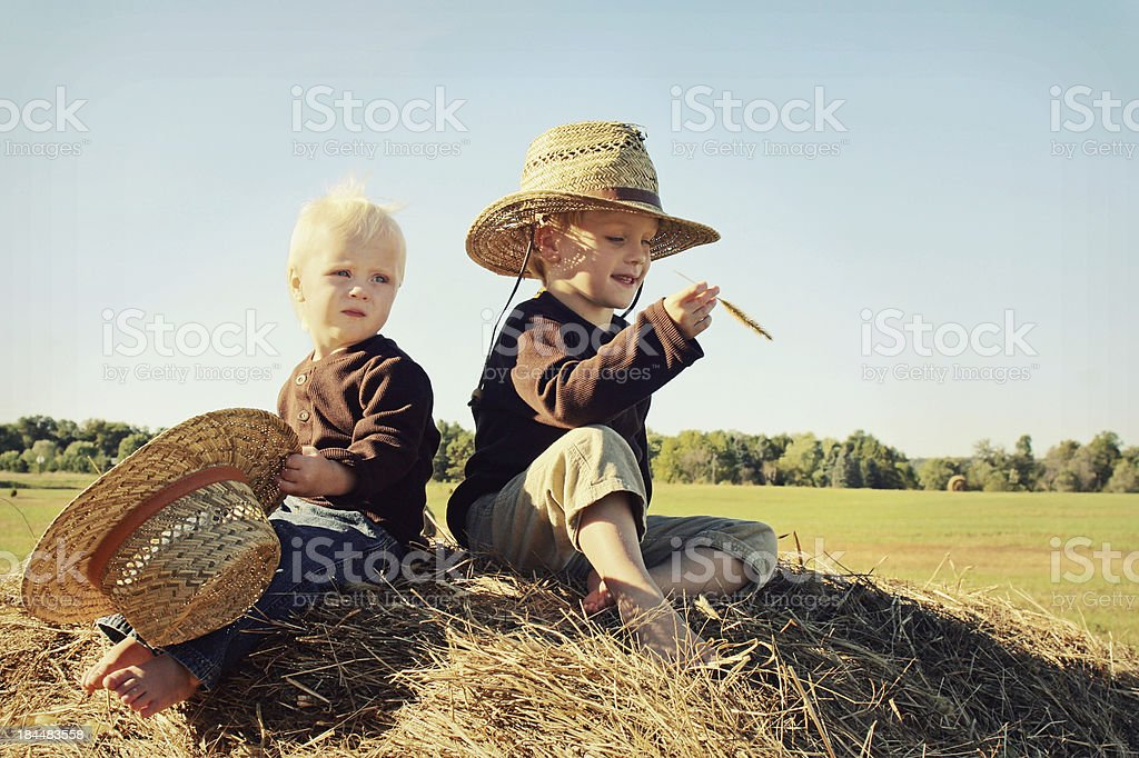 Two Children Sitting on Hay Bale in Autumn royalty-free stock photo