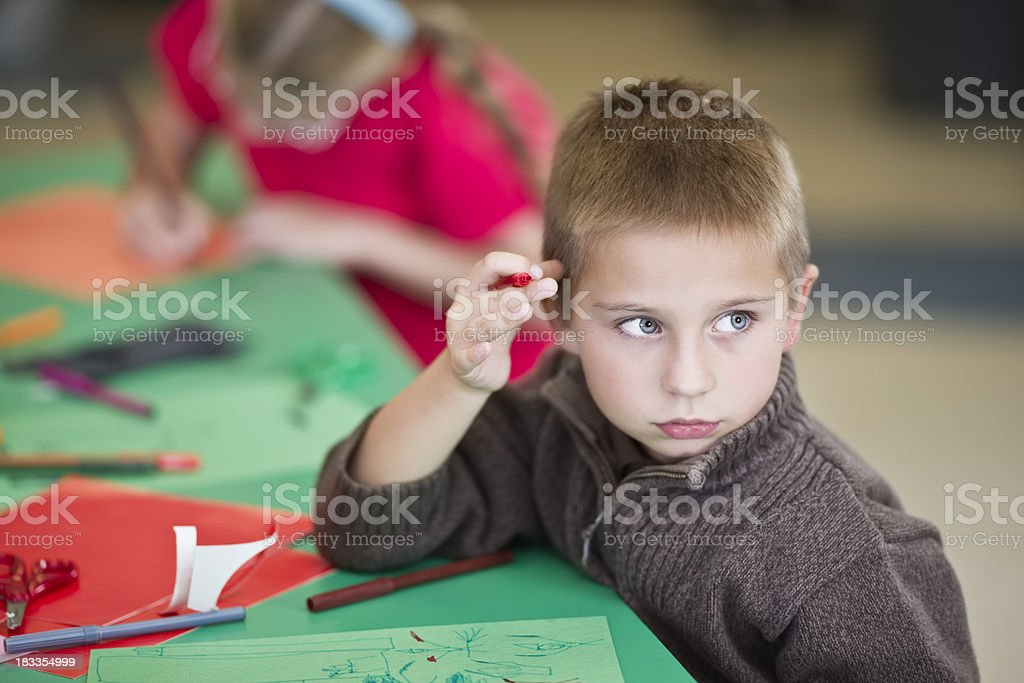 Two Children Working on Crafts at School royalty-free stock photo