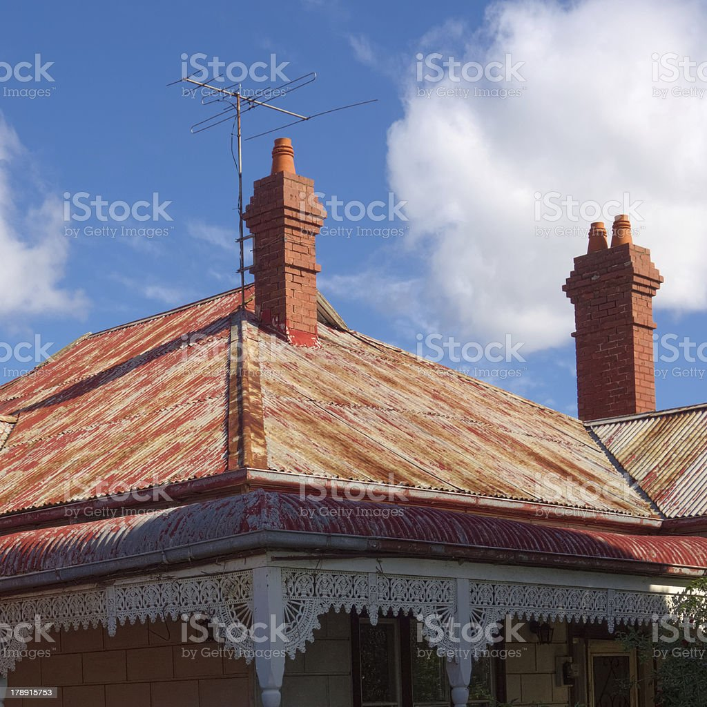 two chimneyed roof royalty-free stock photo