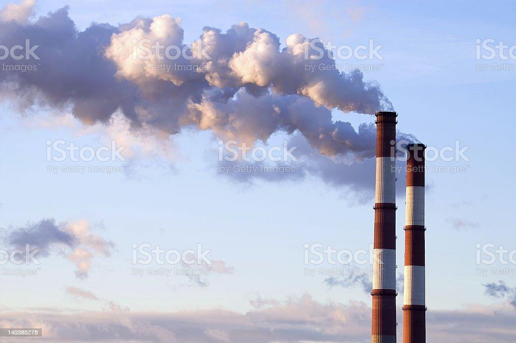 Two chimneys horiz stock photo