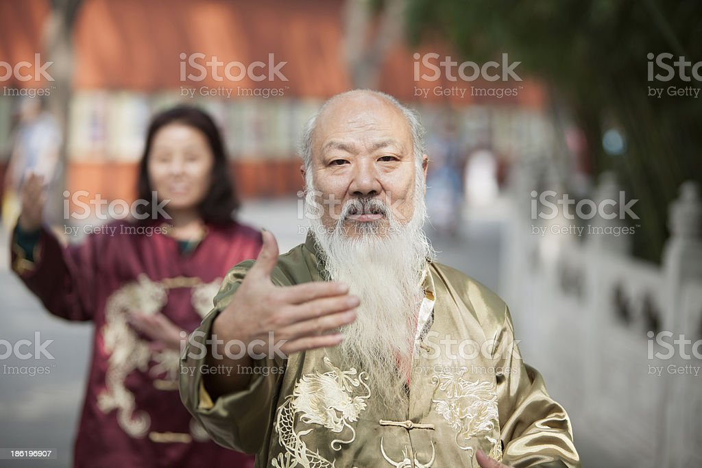 Two Chinese People Practicing Tai Ji royalty-free stock photo