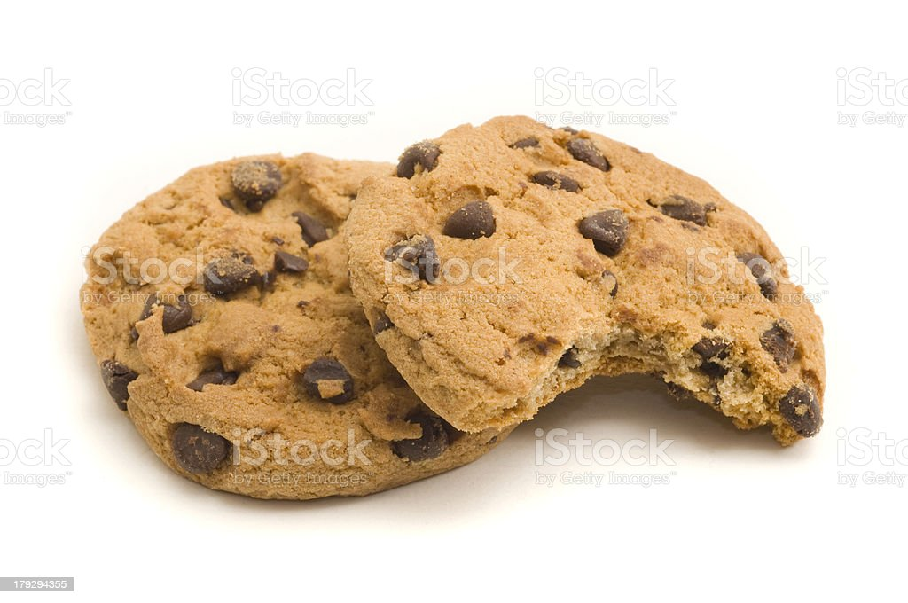 Two Chocolate Chip Cookies royalty-free stock photo