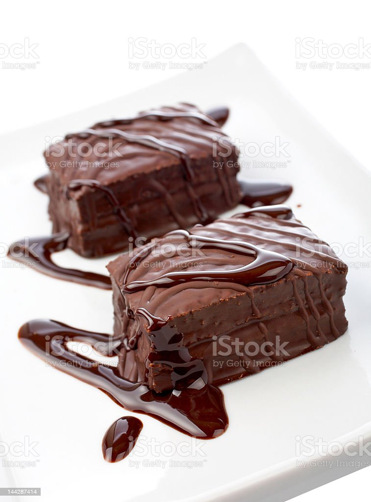 Two chocolate cupcakes on white plate royalty-free stock photo