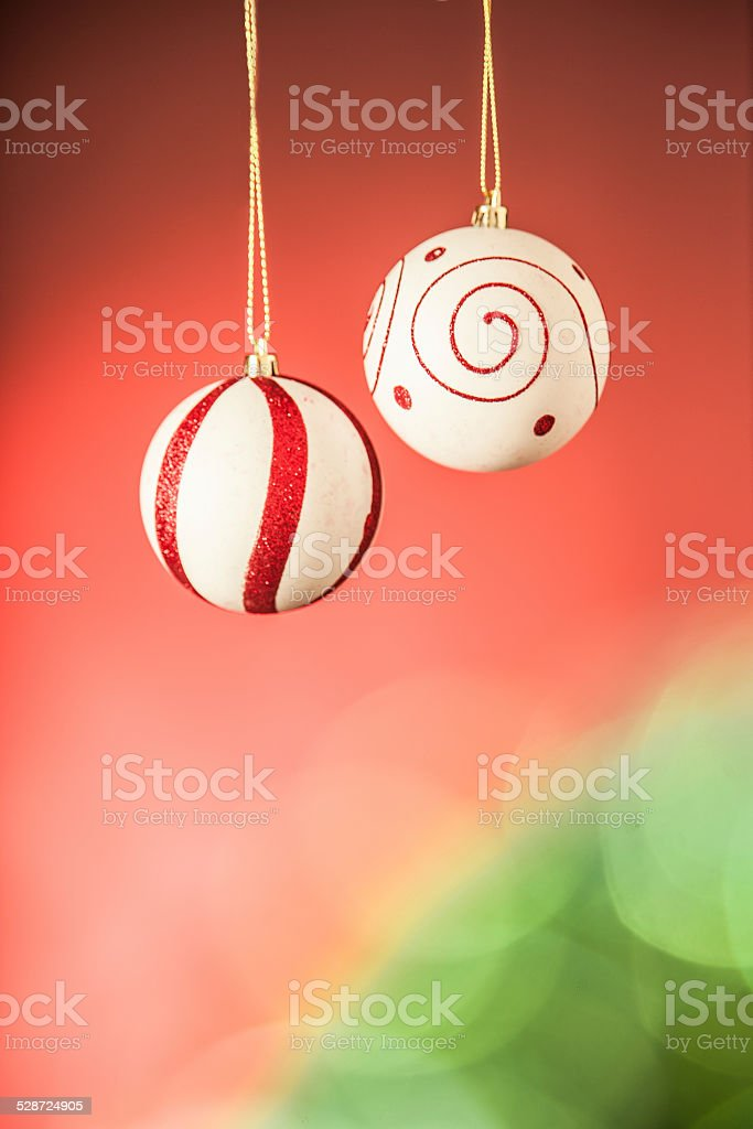 Two christmas balls in white and red stock photo