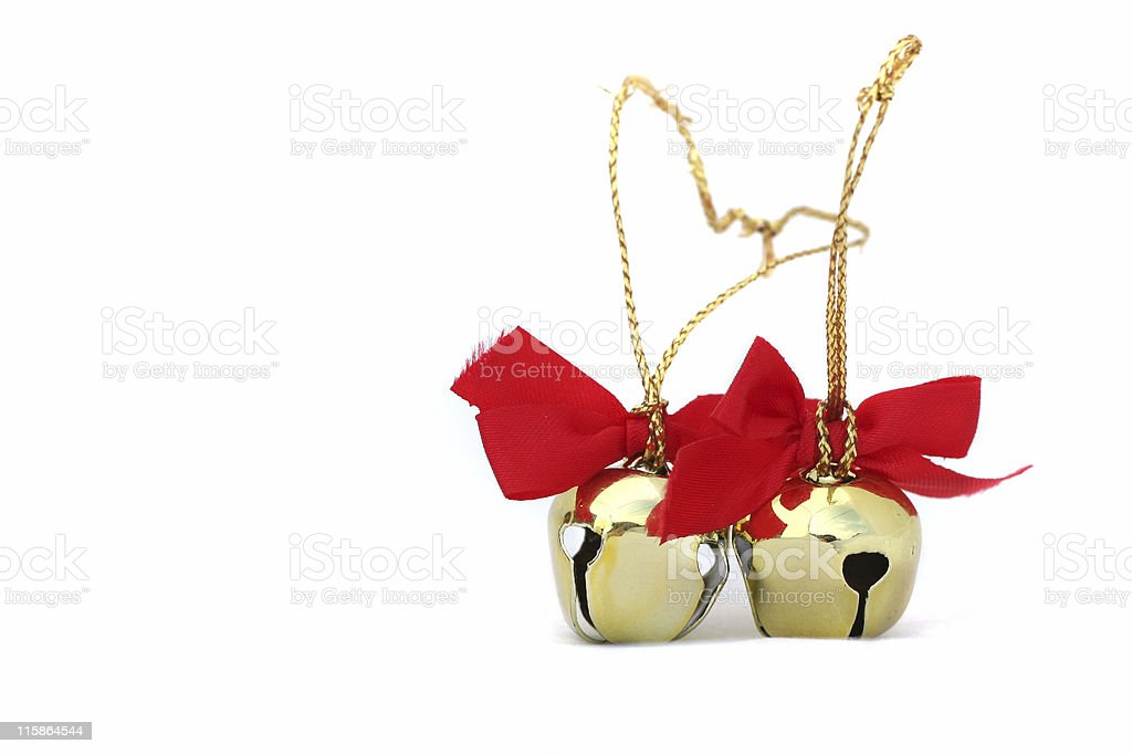 Two Christmas Bells on White stock photo