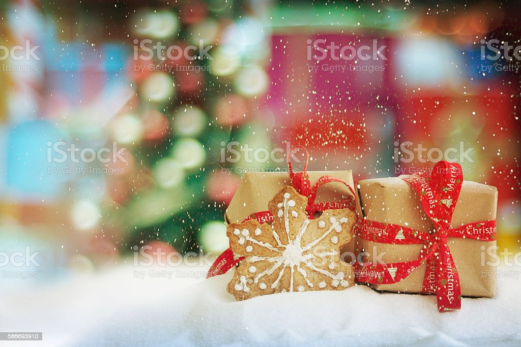 Two Christmas gifts stock photo