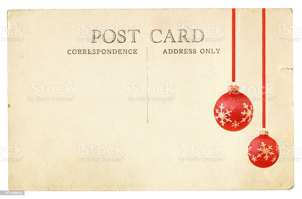 Two Christmas Ornaments on an Old Post Card royalty-free stock photo