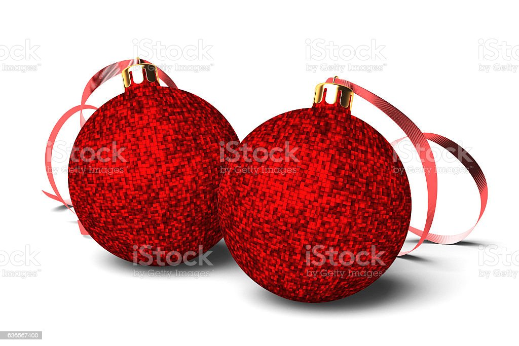 Two Christmas Red Baubles stock photo