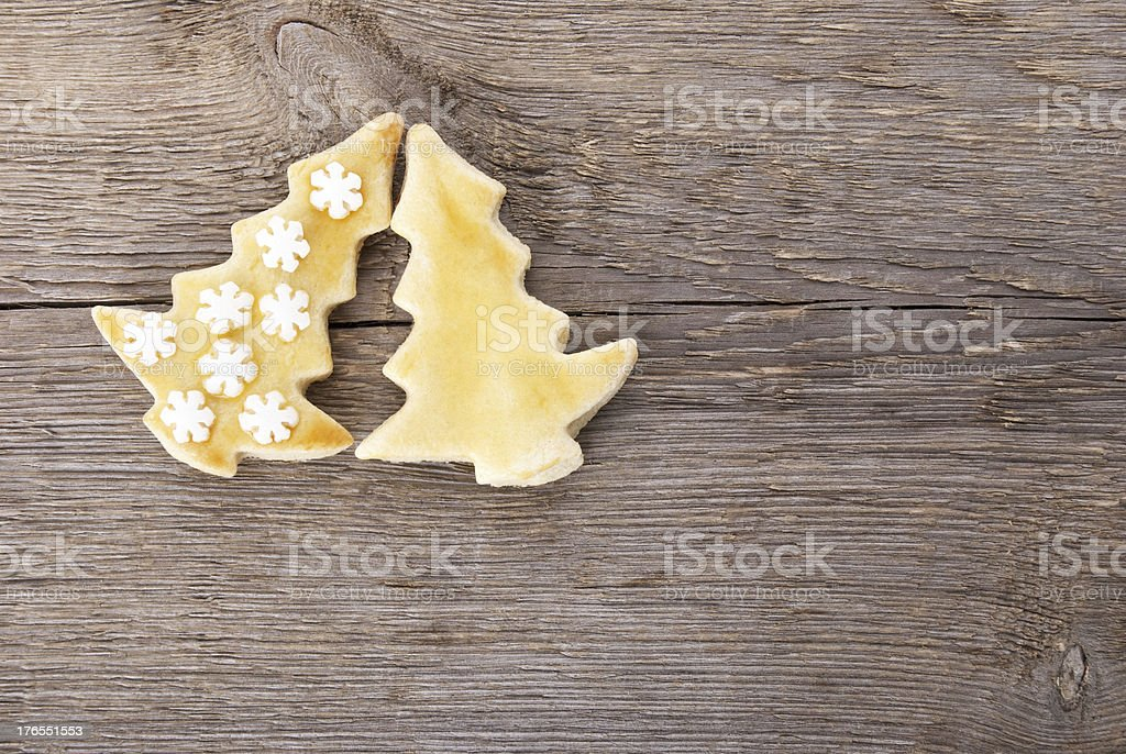 two christmas tree cookies royalty-free stock photo