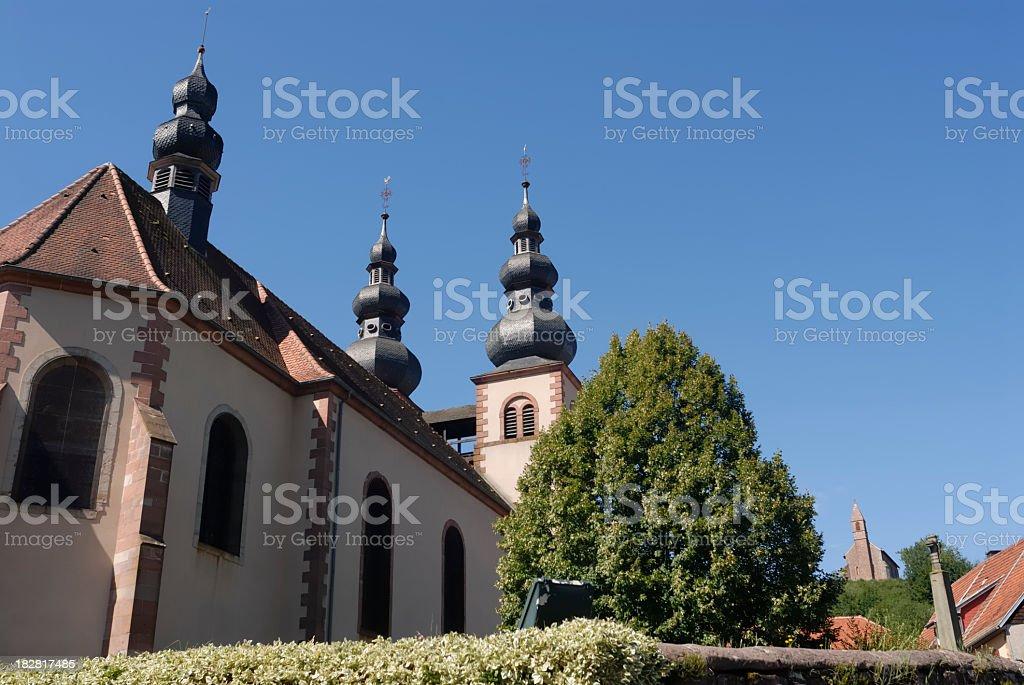 Two churches stock photo