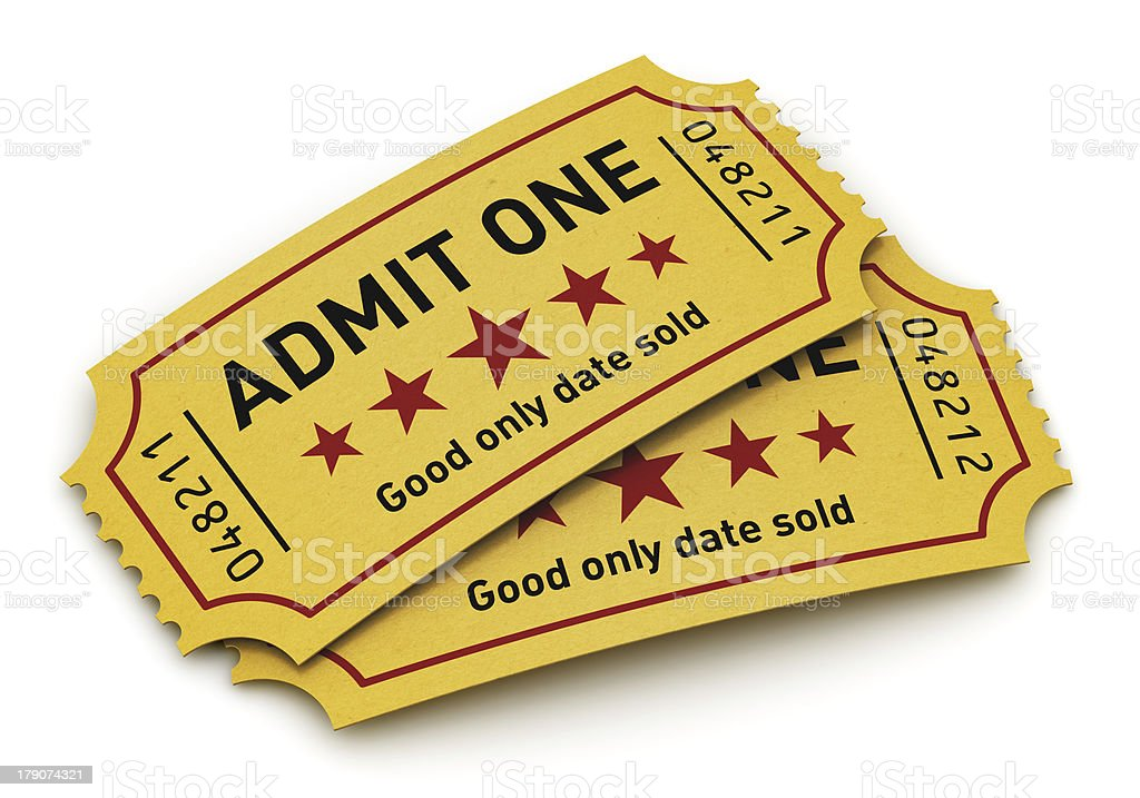 Two cinema tickets on white background stock photo